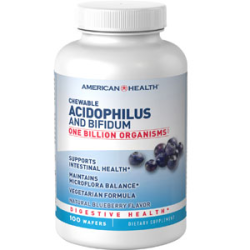 AMERICAN HEALTH CHEWABLE ACIDOPHILUS AND BIFIDUM NATURAL BLUEBERRY WAFERS
